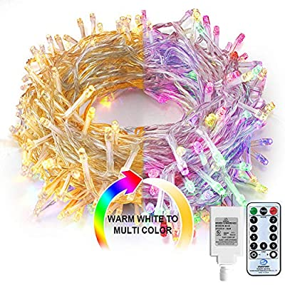Christmas Lights Multicolor Outdoor String - Lights 80Ft 200 LED Christmas tree Lights,Room Lights Color Changing White Christmas Light,Fairy Lights with Remote&Timer for Easter Pastel,Party,Wedding