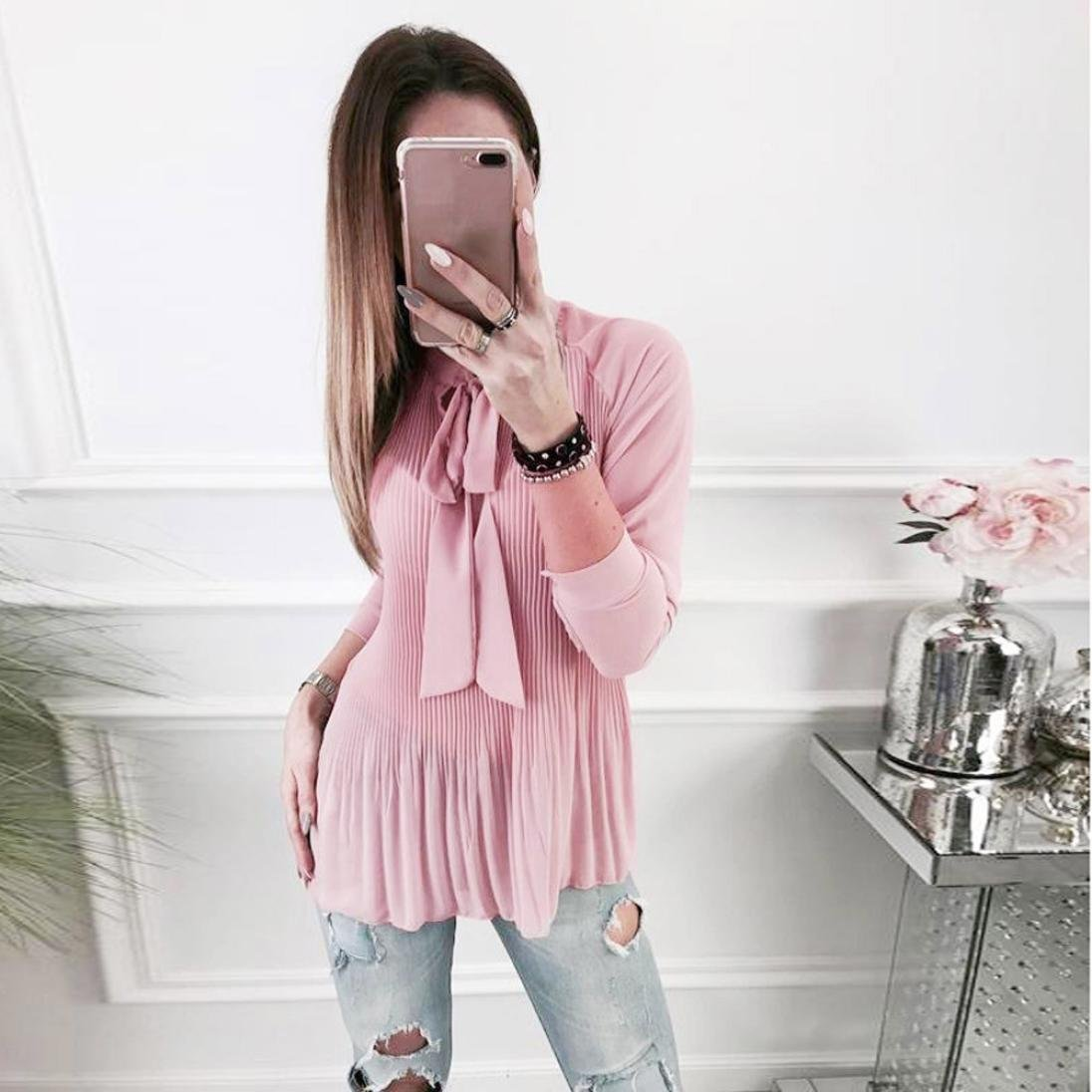 248463fb301 Women New Clothes HOSOME Women Casual Cap Sleeve Bow Tie T-Shirt Solid  Chiffon Blouse Tops ...