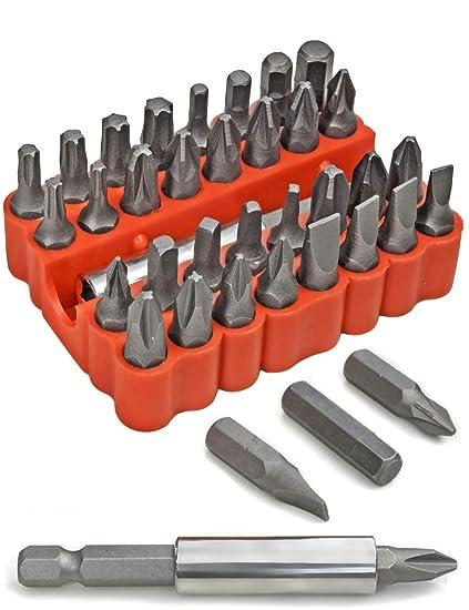 fuxxer® – 33 piezas estándar Juego de puntas, de estrella (Torx puntas hexagonales Ranura IMBUS | con Bit de soporte magnético en caja | 33er Set