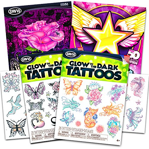Glow in the Dark Temporary Tattoos for Girls Party Pack ~ Over 50 Tattoos featuring Butterflies, Flowers, More! (Glow In The Dark Games For Kids)