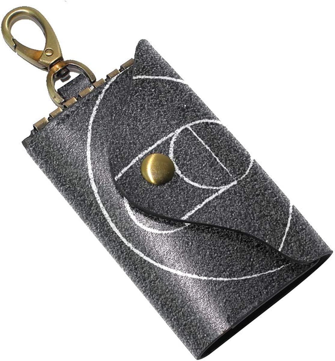 KEAKIA Street Basketball Court Leather Key Case Wallets Tri-fold Key Holder Keychains with 6 Hooks 2 Slot Snap Closure for Men Women