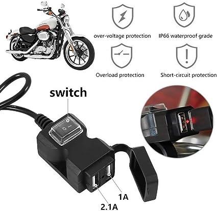 Cargador de motocicleta para teléfono móvil, cargador USB, cable ...