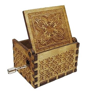 Caja musical de madera con grabado a mano de Harry Potter con diseño de peluca