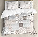 Arabian Decor Duvet Cover Set by Ambesonne, Oriental Motif Pastel Patchwork Pattern with Filigree Ornaments Illustration Art, 3 Piece Bedding Set with Pillow Shams, Queen / Full, White Beige Grey