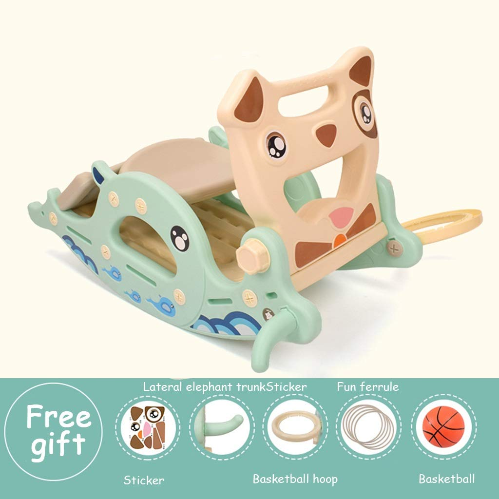 bluee 8 Friendship Shop- Kid Multi-Function Rocking Horse, Music Slide Toy Wooden Horse Rocking Chair (color   bluee, Size   8)