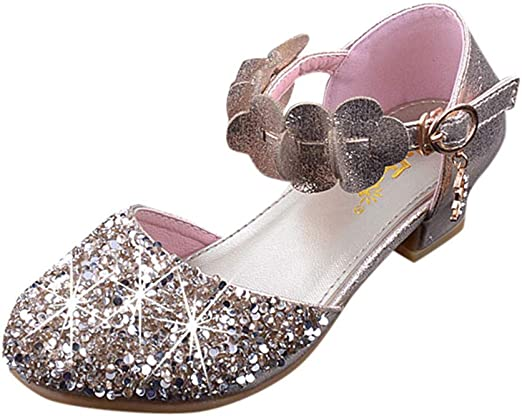 Infant Baby Kids Girls Sandals Sequins High Heels Wedding Princess Party Shoes