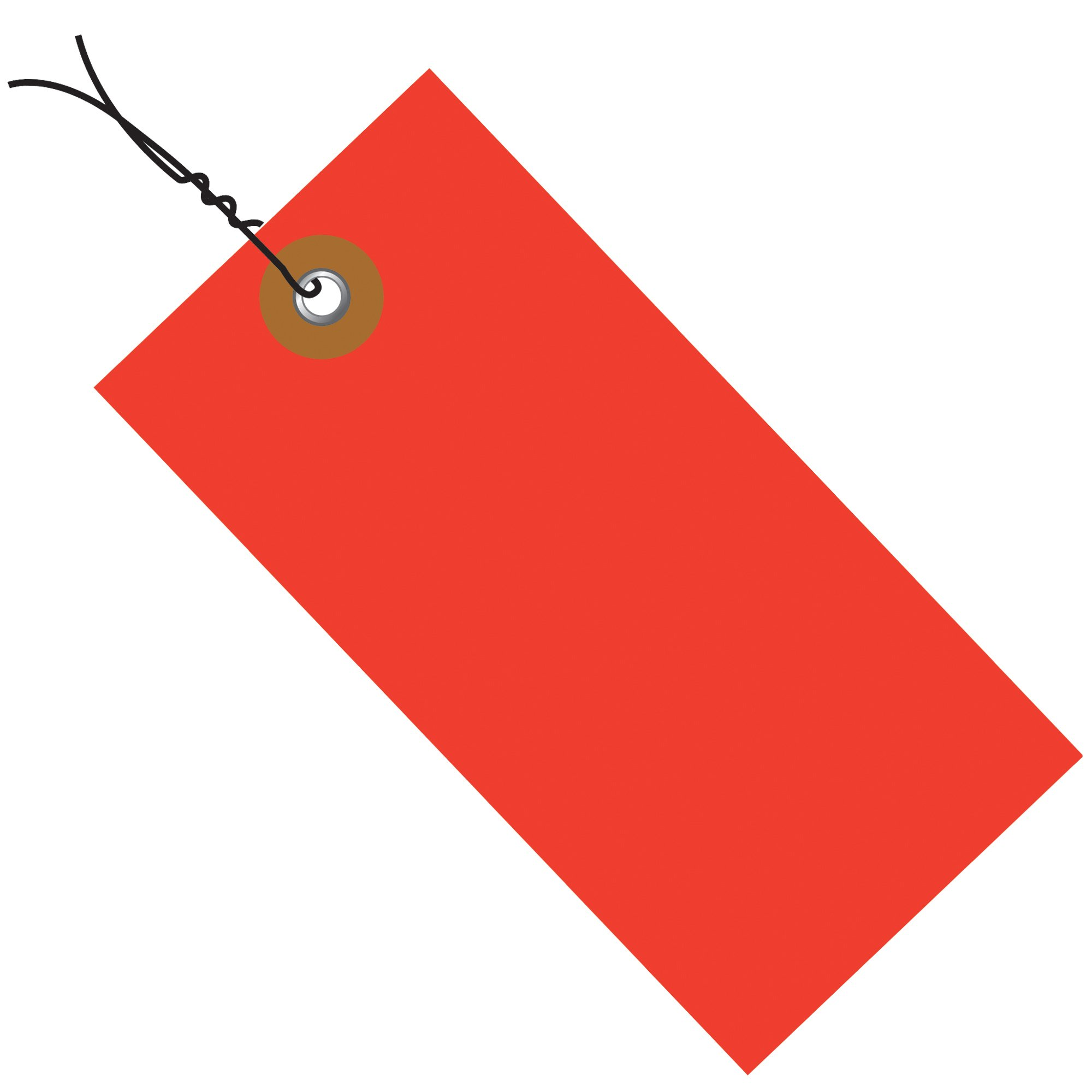 Tyvek G14023D Empty-Eyelet Pre-Wired Shipping Blank Tag, Spunbonded Olefin, 3-1/4'' Height x 1-5/8'' Width, Red (Case of 100)