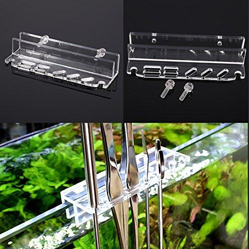 Acrylic Water Plants Grass Maintenance Tool Holder Aquarium Rack Organizer Fish Tank Tweezers Scissors Storage Rack