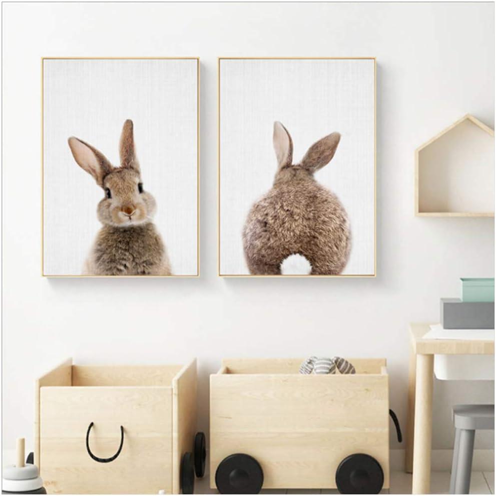 HSFFBHFBH Cuadro en Lienzo Conejo Conejo Cola Vivero Arte de la Pared Animal Poster e Imprimir Imagen n/órdica para Baby Kids Room Decoraci/ón para el hogar 30x40cm Sin Marco 11.8x15.7