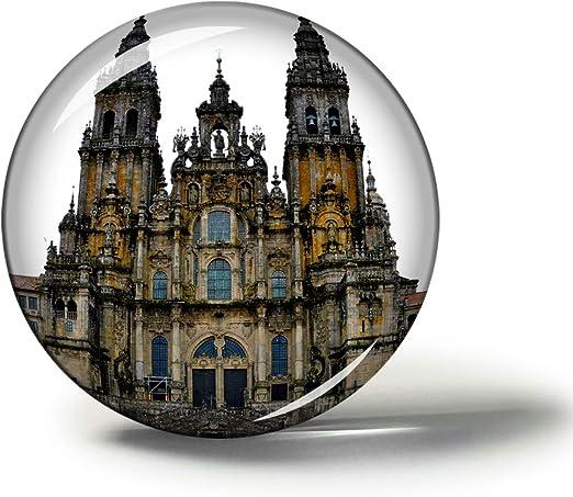 Hqiyaols Souvenir España Santiago De Compostela Imanes Nevera Refrigerador Imán Recuerdo Coleccionables Viaje Regalo Circulo Cristal 1.9 Inches: Amazon.es: Hogar