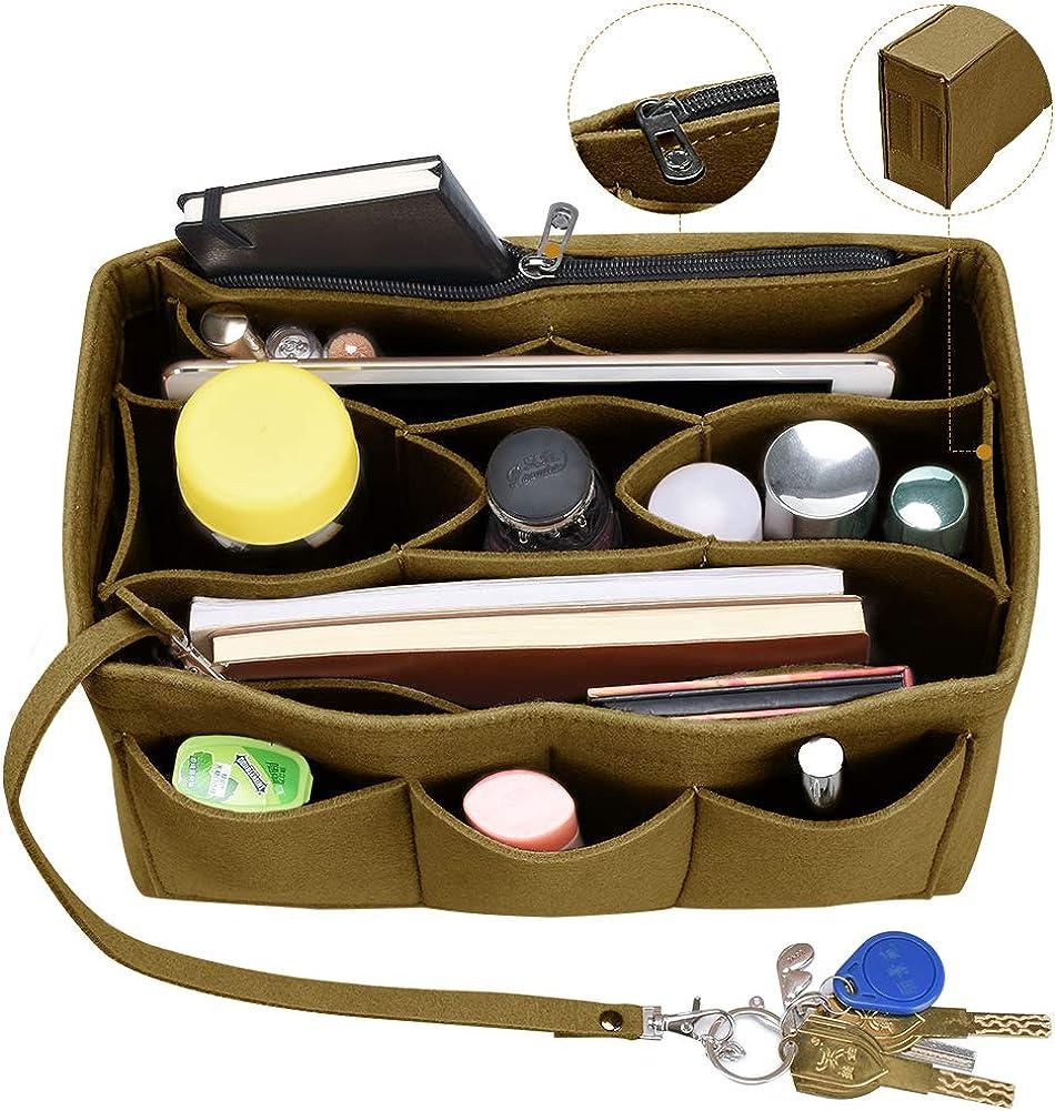 Felt Purse Organizer Insert with Zipper Built In Pouch Keychain Handbag Tote Bag Organizer for Speedy Neverfull