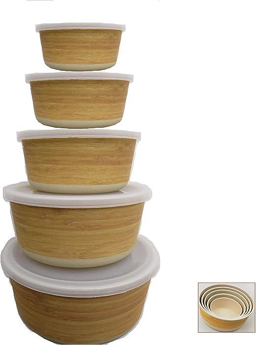 Tuper de Bambu - 5 Tupers de Fibra de Bambú Ecologicos - Material ...