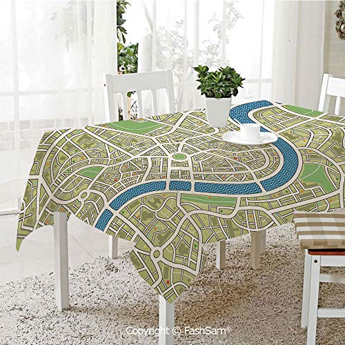 AmaUncle Party Decorations Tablecloth Street Map Without Names Metropolis Capital City Downtown Urban Kitchen Rectangular Table Cover (W60 xL104)