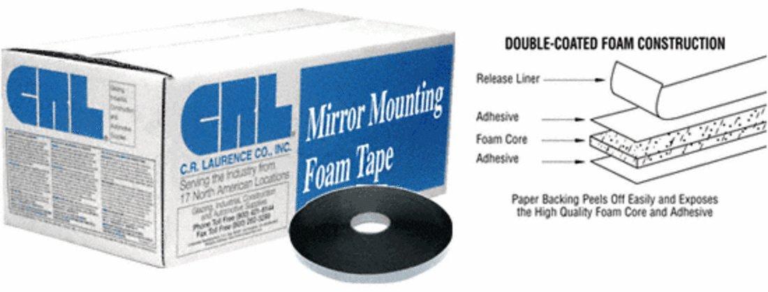 CRL Black 1/16'' x 1/2'' All-Purpose Foam Mounting Tape - CRL421612
