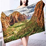 Premium Extra Bath Towel Utah Plateau Mojave Desert Southwest Erosion Navajo Artprint Brown Green Soft Cotton Machine Washable L63 x W31.2 INCH