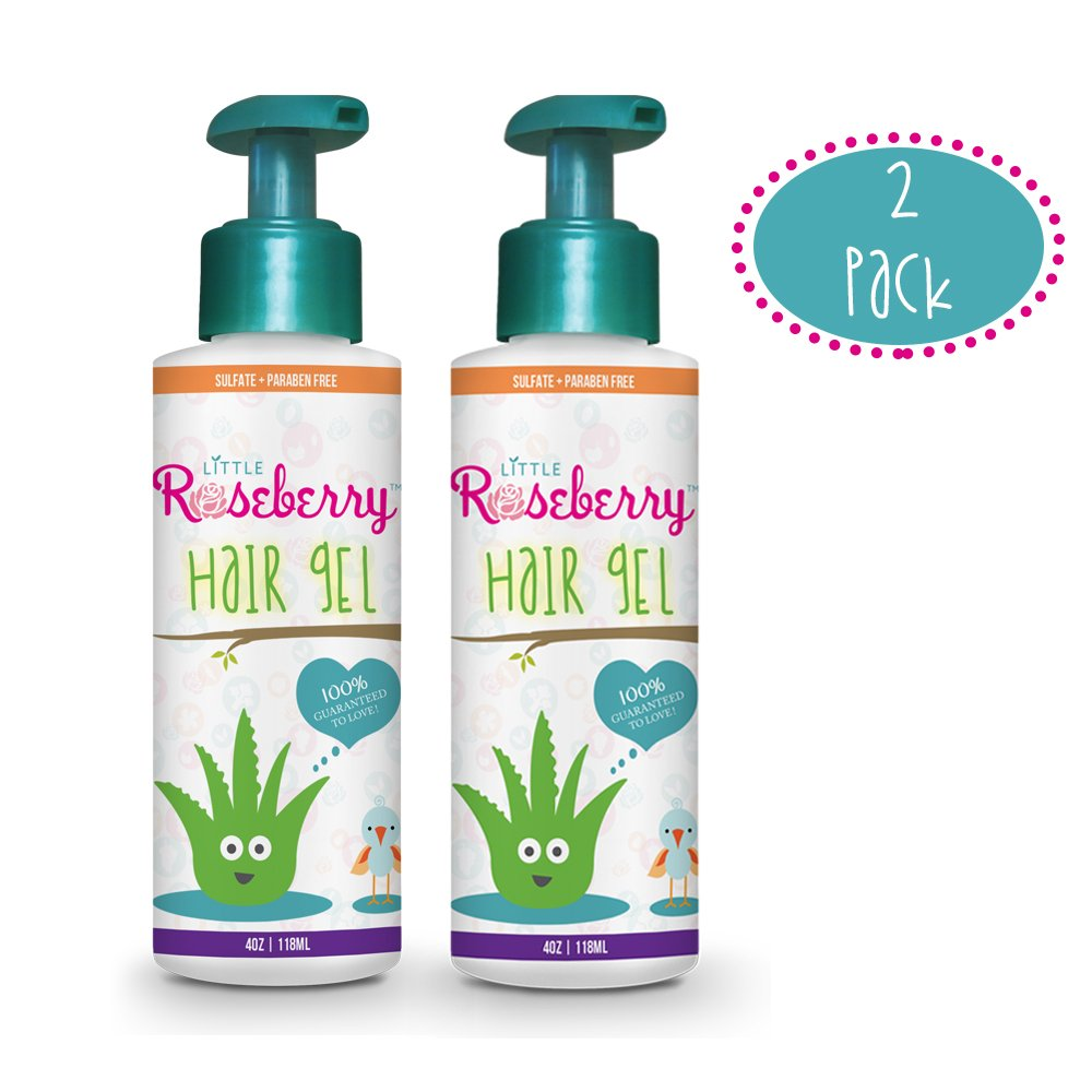 2 Pack Hair Gel for Kids | Light Hold | Chemical Free | Made with Organic Aloe Vera and Vitamins | Safe on Babies, Toddlers, Men and Women | Paraben, Sulfate & Fragrance Free | Made in USA