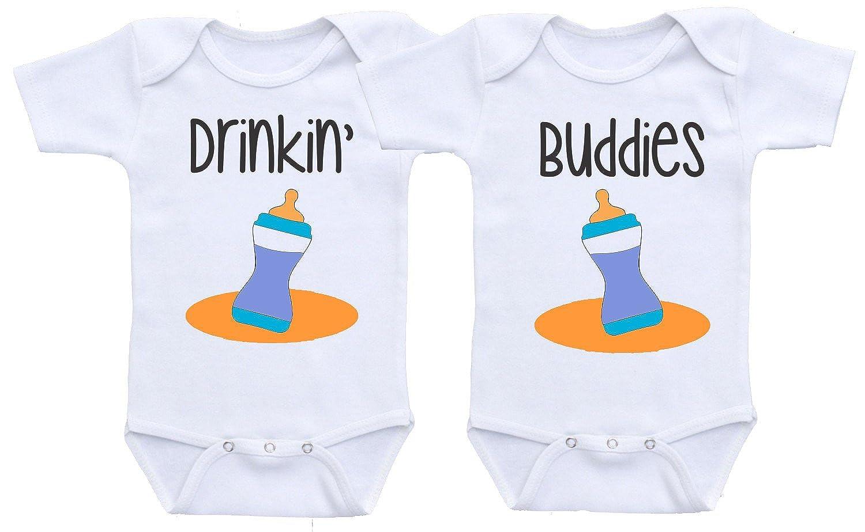 d7635f389 Dazzle Labs Unisex Drinking Buddies Twin Baby Onesie Bodysuit ...