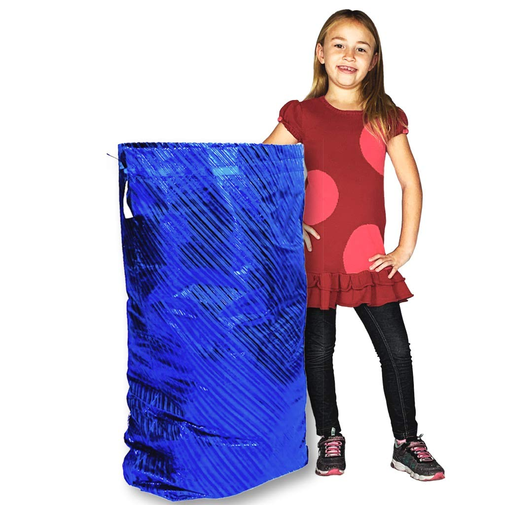 K-Kraft Extra Large Jumbo Giant Gift Wrap Bag, Eco-Friendly Reusable Solution Hanukkah, Christmas, Birthdays (Festive Blue Stripes, 36 x 44 inches)