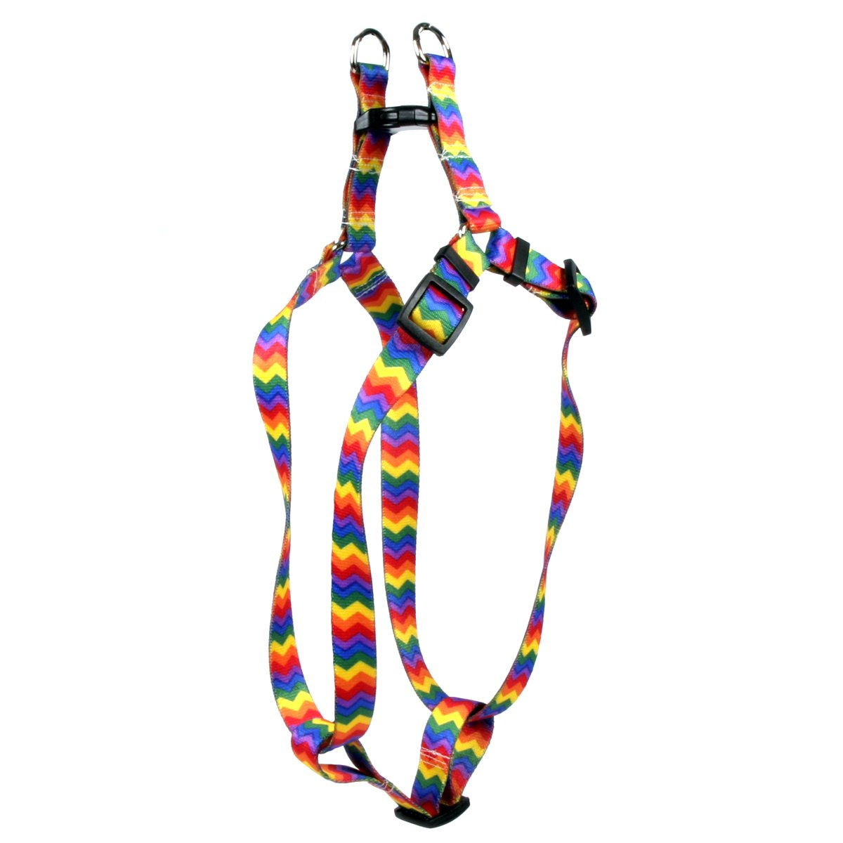 Yellow Dog Design Rainbow Chevron Step-in Dog Harness, X-Small-3/8 Wide and fits Chest of 4.5 to 9''