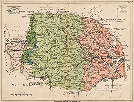 Amazoncom NORFOLK Geological map STANFORD 1913 old map