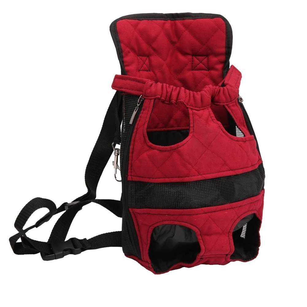 Pet Carrier Backpack Adjustable Safe Cat Dog Front Bags Lightweight Head Legs Tail Out Hands Free for Traveling Hiking Camping (L, Red) Petcomer