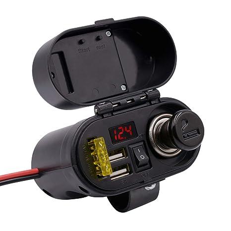 Cargador de cigarrillos para motocicleta, encendedor, a prueba de agua, con  puerto USB 5b999d0d3fb4