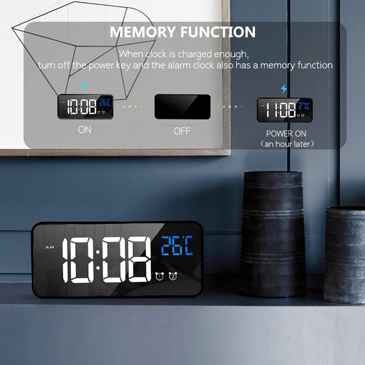HOMVILLA Sveglia Digitale con Display a LED di Dimensioni, Sveglia a Specchio Portatile con Doppio Allarme Snooze Time 4 Livelli d i Luminosità Regolabile Dimmer 13 Music Porta di Ricarica USB (Nero)