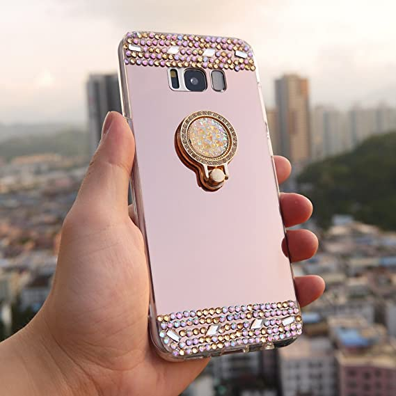 outlet store ed773 6cc9d Galaxy J6 2018 Mirror Case, DMaos Women Sparkly Diamond Ring Kickstand Soft  Cover for Samsung Ultra Thin Colorful Stone Slim Surface Stand Finger Hold  ...