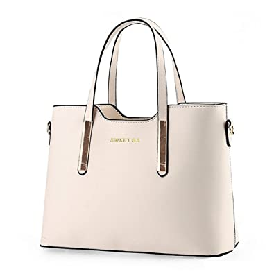 5e4e2fb07254 Amazon.com  Fashion Road PU Leather Womens Shoulder Bags Top-Handle Handbag  Tote Purse Bag Beige  Shoes