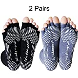 2 Pairs Toeless Half Toe Yoga Socks with Anti Slip Grip for Women & Men