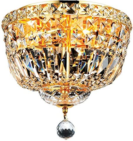 Elegant Lighting 2528F12G RC Royal Cut Clear Crystal Tranquil 4-Light, Single-Tier Flush Mount Crystal Chandelier, Finished in Gold with Clear Crystals