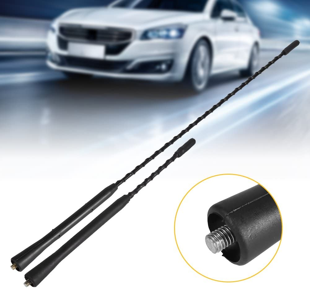 Cuque Universal FM AM Auto Radio Antenna 9 Inches Car Replacement Anti Noise Beesting Aerial Antenna with 3 Different Screws Antenna