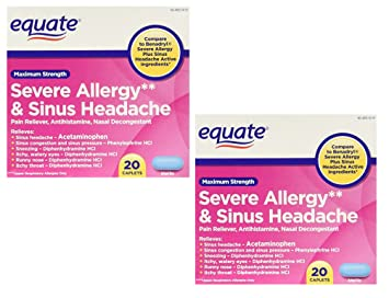 Equate Severe Allergy and Sinus Headache 20 Caplets (Pack of 2) Compare to  Benadryl