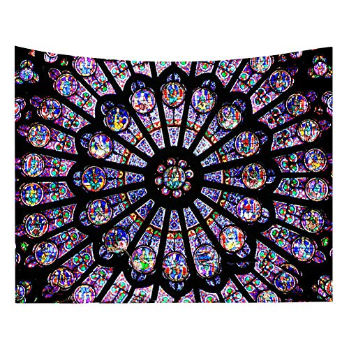 PanDaDa Blankets,Notre Dame Cathedral in Paris South Rose Window Mat Medieval Educational Tapestry Polyester Printed Wall Hanging Decor Art Beach Towel,200150cm