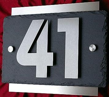 Número de casa de acero inoxidable y pizarra, 3D, 13 cm de ...