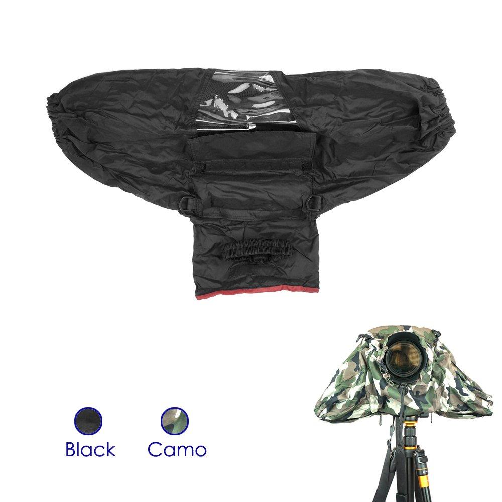 FoRapid Deluxe Professional Camera Rain Cover Rain Jacket Raincoat Waterproof Rain Cover Protective Cover Sleeve for Canon Nikon Sony Panasonic Pentax Olympus Fuji DSLR with Long Lens Black by FoRapid
