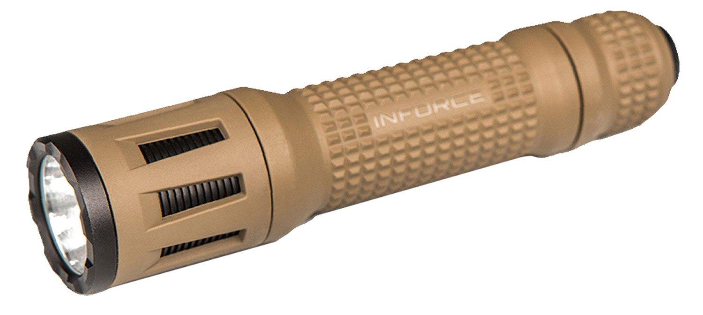 Inforce TFx Handheld Flashlight 700 Lumen White LED Light Multi Function CR123A Battery Compatible Reinforced Polymer Housing Flat Dark Earth Finish