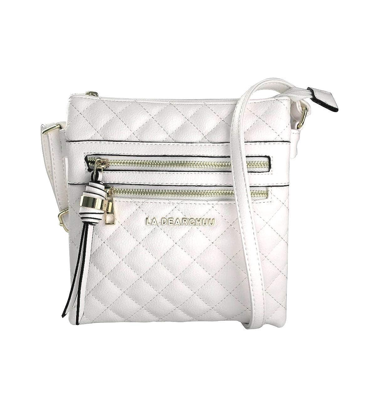 La Dearchuu Crossbody Purse for Women Lightweight Leather Crossbody Bags Multi Pocket Crossbody Shoulder Bag for Ladies