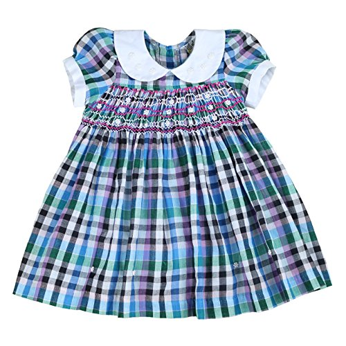 sissymini Infant and Toddlers Soft Plaid Hand Smocked Dresses | Lady in Blue Paradise 24M