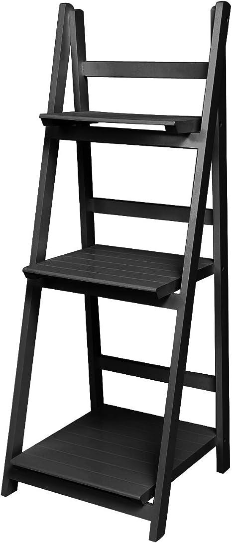 BUSYALL Escalera Estantería de Madera Mueble Librería de 3 Baldas, Estanterías de Esquina Pared Estantes Organizador para Libros Decoración, 111 x 41.5 x 41cm, (EU Stock): Amazon.es: Hogar