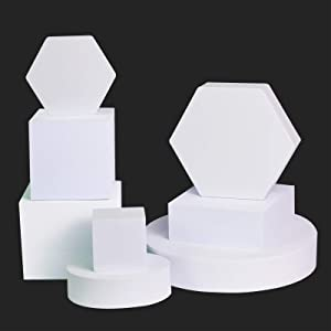 YOOCHEESE Photography Background Props Craft Hard Foam Shapes for Lipstick, Jewelry, Cosmetics, Makeup Tools, Food; Geometric Cube Photo Props for Products Multicolor (White)