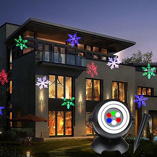 Kyson Christmas Laser Light Projector LED Snowflake Moving Spotlight Landscape Projector Lamp with 6 Lens, Outdoor Garden Fairy Light for Christmas Wedding Party Decoration