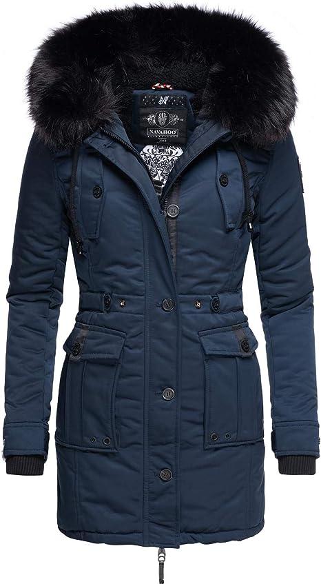 Navahoo Cappotto invernale trapuntato da donna con pelliccia sintetica rimovibile 5 colori XXL Halina S