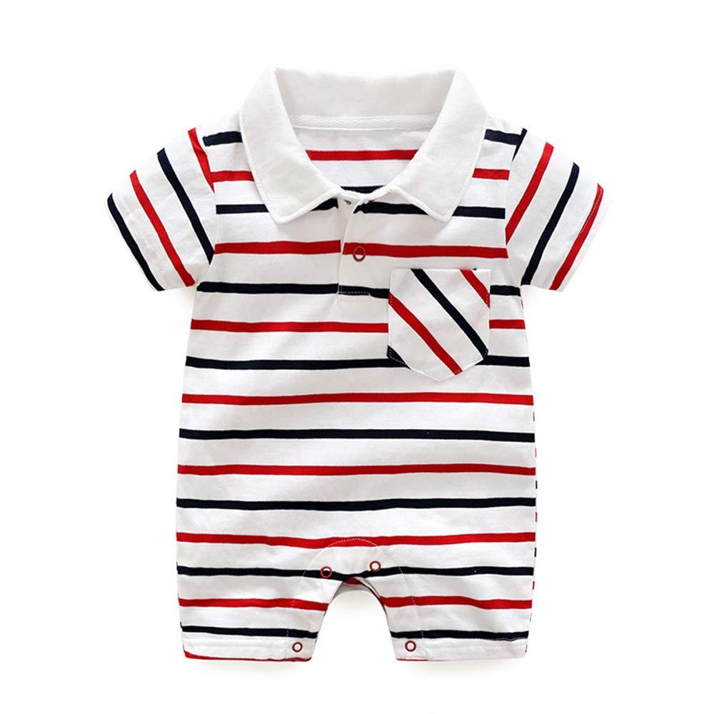 BBKidss Baby Boys Stripe Print Short Sleeve Romper Pocket T Shirt Playwear Toddler Cotton Creeper Bodysuit