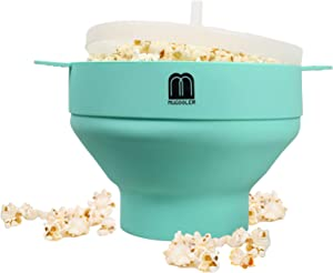 MMUGOOLER Original Microwave Popcorn Popper, Silicone Popcorn Maker, Collapsible Bowl BPA Free and Dishwasher Safe,Quick & Easy Popcorn Popper Silicone Microwave-Blue(Aqua)