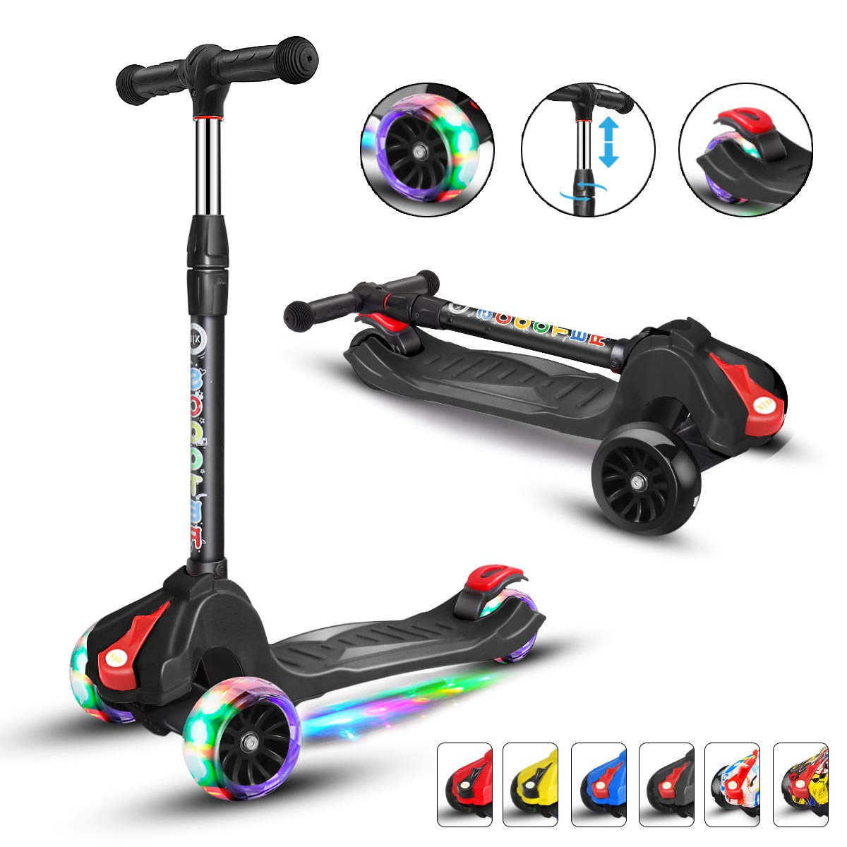 XJD Scooters for Kids Toddler Scooters Adjustable Height Extra-Wide 3 Wheels Boys Girls 100% Assembled Light Up Wheels Children from 2 to 14 Year-Old (Black) by XJD