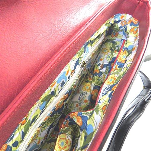 P3204 violet Sac cm 26x17x6 5 Lili rouge vintage Petrol créateur RqvXxRT5wO