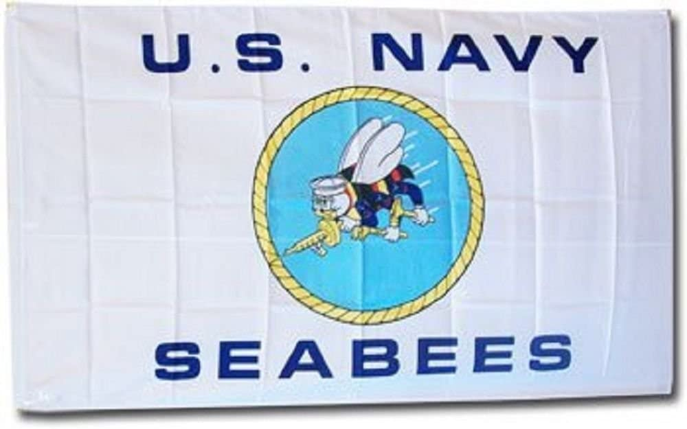 US Navy Seabees Flag Indoor Outdoor Banner 3x5FT Military United States