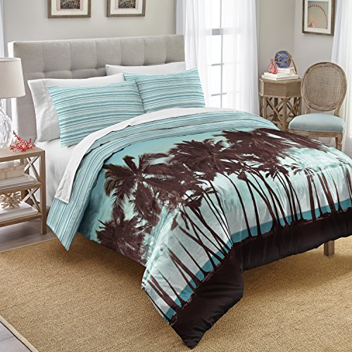 Palm Blue Tree (Destinations Palm Tree Sunset Cotton Comforter Set, Full Queen, Blue)