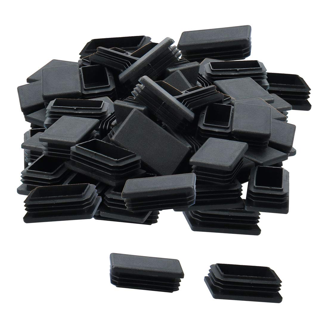 uxcell 60pcs 50 x 30mm Plastic Rectangle Ribbed Tube Insert End Cover Pad Furniture Chair Table Desk Feet Floor Protector
